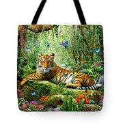 Tiger In The Jungle Tote Bag by Adrian Chesterman