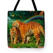 Tiger Love Tropical Tote Bag by Alixandra Mullins