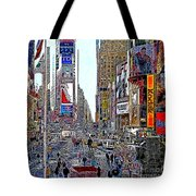 Time Square New York 20130503v8 Square Tote Bag by Wingsdomain Art and Photography