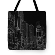 Times Square Nyc White On Black Tote Bag by Meandering Photography