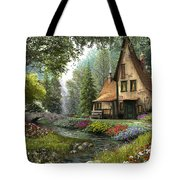 Toadstool Cottage Tote Bag by Dominic Davison