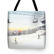 Top Of The Mountain At Seven Springs Tote Bag by Albert Puskaric