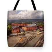 Train - Entering The Train Yard Tote Bag by Mike Savad