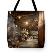 Train - Ready in the roundhouse Tote Bag by Mike Savad
