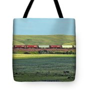 Transportation. Panorama With A Train. Tote Bag by Ausra Paulauskaite