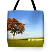 Tree And Hay Bales Tote Bag by Aged Pixel