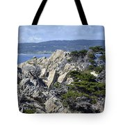 Trees Amidst The Cliffs In California's Point Lobos State Natural Reserve Tote Bag by Bruce Gourley