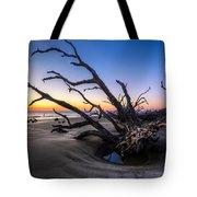Trees At Driftwood Beach Tote Bag by Debra and Dave Vanderlaan