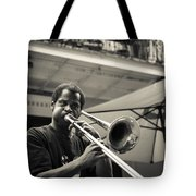 Trombone In New Orleans Tote Bag by David Morefield