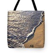 Tropical Beach With Footprints Tote Bag by Elena Elisseeva