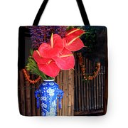 Tropical Flowers In A Porcelain Vase Tote Bag by Karon Melillo DeVega