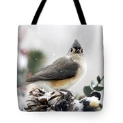 Tufted Titmouse In The Snow Tote Bag by Christina Rollo