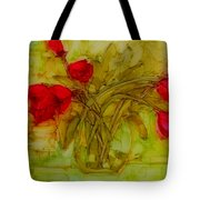 Tulips In A Glass Vase Tote Bag by Patricia Awapara