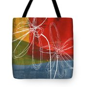 Two Flowers Tote Bag by Linda Woods