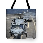 Two Mh-60s Sea Hawk Helicopters Take Tote Bag by Stocktrek Images