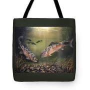 Two Rainbow Trout Tote Bag by Donna Tucker