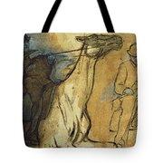 Two Studies Of Riders Tote Bag by Edgar Degas