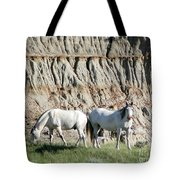 Two Wild White Stallions Tote Bag by Sabrina L Ryan