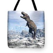 Tyrannosaurus Rex Dinosaur In A Snowy Tote Bag by Elena Duvernay