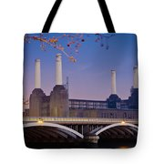 Uk, England, View Of Battersea Power Tote Bag by Dosfotos