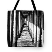 Under Huntington Beach Pier Black And White Picture Tote Bag by Paul Velgos
