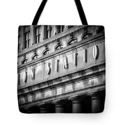 Union Station Chicago Sign In Black And White Tote Bag by Paul Velgos