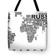 UNITED STATES and the REST of the WORLD in TEXT MAP Tote Bag by Daniel Hagerman