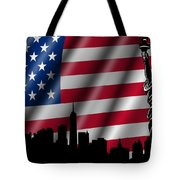 Usa American Flag With Statue Of Liberty Skyline Silhouette Tote Bag by David Gn