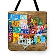 Usa License Plate Map Car Number Tag Art On Light Brown Stained Board Tote Bag by Design Turnpike