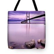 Vasco Da Gama Bridge Tote Bag by Jorge Maia