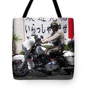 Vegas Motorcycle Cop Tote Bag by John Malone