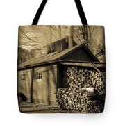 Vermont Maple Sugar Shack Circa 1954 Tote Bag by Edward Fielding