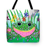 Very Happy Spotted Frog Tote Bag by Nick Gustafson