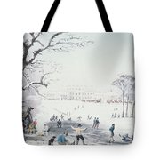 View Of Buckingham House And St James Park In The Winter Tote Bag by John Burnet