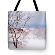 Village Under The Snow. Russia Tote Bag by Jenny Rainbow