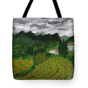 Vineyard And Haystacks Under Stormy Sky Tote Bag by Vicki Maheu