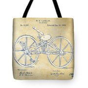 Vintage 1869 Velocipede Bicycle Patent Artwork Tote Bag by Nikki Marie Smith