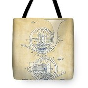 Vintage 1914 French Horn Patent Artwork Tote Bag by Nikki Marie Smith