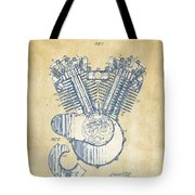 Vintage 1923 Harley Engine Patent Artwork Tote Bag by Nikki Marie Smith