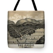 Vintage Bar Harbor Map Tote Bag by Edward Fielding