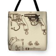 Vintage Colt Revolver Drawing Tote Bag by Nenad Cerovic