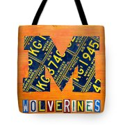 Vintage Michigan License Plate Art Tote Bag by Design Turnpike