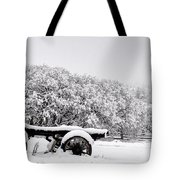 Vintage Wagon In Snow And Fog Filled Valley Tote Bag by Gary Whitton