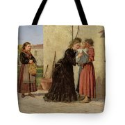 Visiting The Wet Nurse Tote Bag by Silvestro Lega