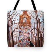 Waiting At Church Ruins Tote Bag by Misuk  Jenkins
