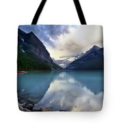 Waiting For Sunrise At Lake Louise Tote Bag by Teresa Zieba