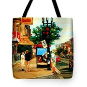Walking Past Rialto And The Kit Kat Gift Shop Towards Pascals On Blvd. Park Avenue Montreal Scenes Tote Bag by Carole Spandau