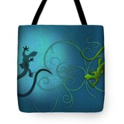 water colour print of twin geckos and swirls Duality Tote Bag by Sassan Filsoof
