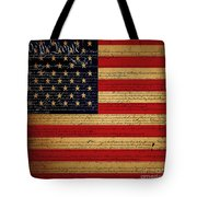 We The People - The US Constitution with Flag - square v2 Tote Bag by Wingsdomain Art and Photography