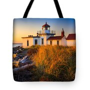West Point Lighthouse Tote Bag by Inge Johnsson